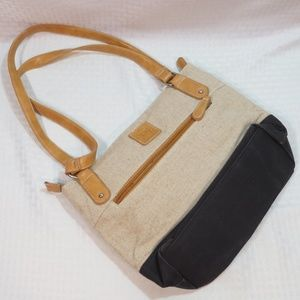 Stone Mountain Canvas Shoulder Bag Cream Black